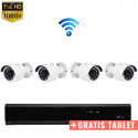 4x Mini IR IP Camera 1080P POE Draadloos + GRATIS TABLET