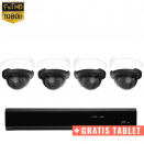 4x Dome IP Camera 1080P POE Bekabeld + GRATIS TABLET