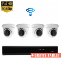 4x Mini Dome IP Camera 1080P POE Draadloos + GRATIS TABLET