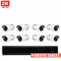 8x Mini IR IP Camera 2K POE Bekabeld + GRATIS TABLET