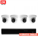 4x Mini Dome IP Camera 2K POE Bekabeld + GRATIS TABLET