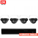 4x Dome IP Camera 2K POE Bekabeld + GRATIS TABLET