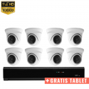 8x Mini Dome IP Camera 1080P POE Bekabeld + GRATIS TABLET