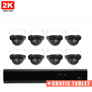 8x Dome IP Camera 2K POE Bekabeld + GRATIS TABLET