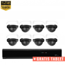 8x Dome IP Camera 1080P POE Bekabeld + GRATIS TABLET