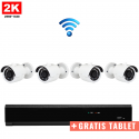4x Mini IR IP Camera 2K POE Draadloos + GRATIS TABLET