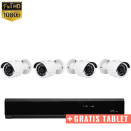 4x Mini IR IP Camera 1080P POE Bekabeld + GRATIS TABLET