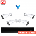 4x IR IP Camera 2K POE Draadloos + GRATIS TABLET
