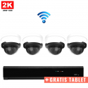 4x Dome IP Camera 2K POE Draadloos + GRATIS TABLET