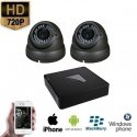 2x HD IP Dome Camera Grijs Set