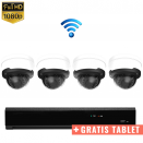 4x Dome IP Camera 1080P POE Draadloos + GRATIS TABLET