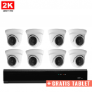 8x Mini Dome IP Camera 2K POE Bekabeld + GRATIS TABLET