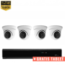 4x Mini Dome IP Camera 1080P POE Bekabeld + GRATIS TABLET