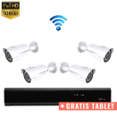 4x IR IP Camera 1080P POE Draadloos + GRATIS TABLET