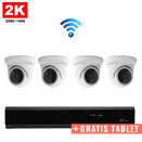 4x Mini Dome IP Camera 2K POE Draadloos + GRATIS TABLET