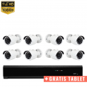 8x Mini IR IP Camera 1080P POE Bekabeld + GRATIS TABLET