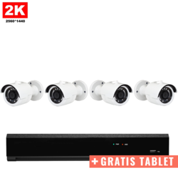 4x Mini IR IP Camera 2K POE Bekabeld + GRATIS TABLET
